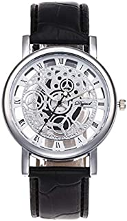WhiteswanauAccurate Time Keeping Luxury Watches Man Women Cool Design Hollow Out Transparent Dial PU Leather Wrist Watch Gift