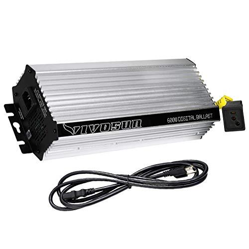 VIVOSUN 600 Watt Dimmable Electronic Digital Ballast - Enhanced Internal Fan Cooled Operation 25% Less Heat Generated for 15% Longer Service Life