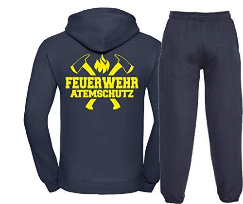 Kapuzen-Jogginganzug Navy, Feuerwehr ATEMSCHUTZ, Äxte Neongelb XL