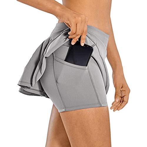 Shujin Damen Sport Rock Tennisrock 2 in 1 Sport Mini Skirt mit Innenhose Taschen Golf Skirt Hockey Rock Fitness Yoga Skort Falten Hosenrock Laufenrock(Grau,M)