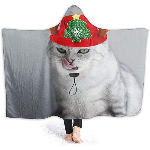 Kerstmuts, sweatshirt met capuchon voor katten, draagbare deken van flanel, voor sofa, deken met capuchon, thermodeken met capuchon
