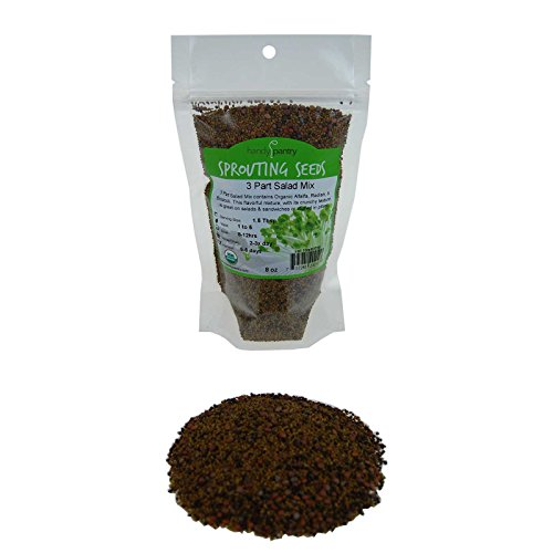 Price comparison product image Handy Pantry 3 Part Salad Sprout Seed Mix - 8 Oz Brand - Organic Sprouting Seeds: Radish,  Broccoli & Alfalfa: Cooking,  Food Storage or Salad Sprouts