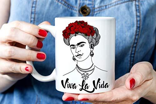 N\A a Taza de Frida Kahlo Amantes de Frida Kahlos Taza de café única de Frida Tazas Feministas Taza de motivación Viva La Vida Regalo para Ella