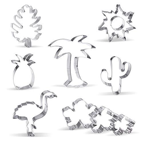 Groß Hawaiisch Tropisch Ausstechform Set - 10 Stück - Palme, Flamingo, Sonne, Kaktus, Ananas, Blatt, Blume - Rostfreier Stahl