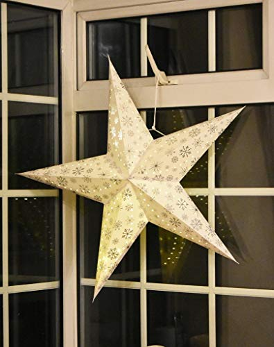 Large LED Decorative Festive Paper Star Hanging Christmas Lantern Xmas Lights (16' White Star)