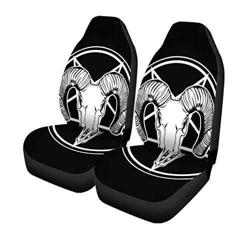 Fundas de asiento de coche Silver Ram Satan Goat Skull Anatomy Animal Beautiful Black Universal Auto Front Asientos Protector