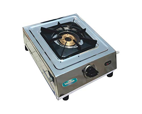 Khaitan 1 Brass Burner Cuba BF Stainless Steel Manual Ignition LP Gas Stove (ISI Approved) , Silver