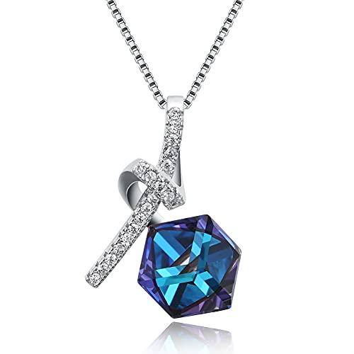 Collares con colgante prismático de plata de ley 925 para mujer, collar de aniversario de cristal azul austriaco y circonita cúbica
