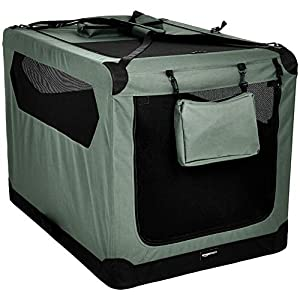 AmazonBasics Premium Folding Portable Soft Pet Dog Crate Carrier Kennel - 42 x 31 x 31 Inches, Grey