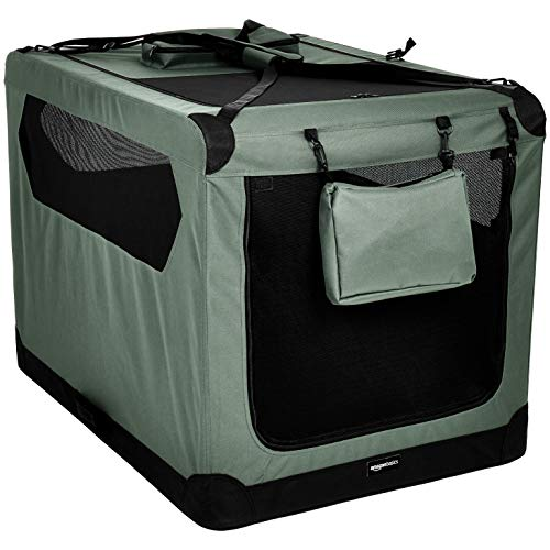 Amazon Basics Premium Folding Portable Soft Pet Dog Crate Carrier Kennel - 42 x 31 x 31 Inches, Grey
