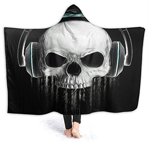SUGARHE Tragbare Hoodie Decke,Face Graphic Skull Evil Konzert Rock'n'Roll Musik Kopfhörer,Umhang Druck Grafik warm für den Winter 60x50