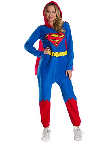 Rubie's DC Super Heroes Women's Superman Hooded Jumpsuit, As Shown, Small
