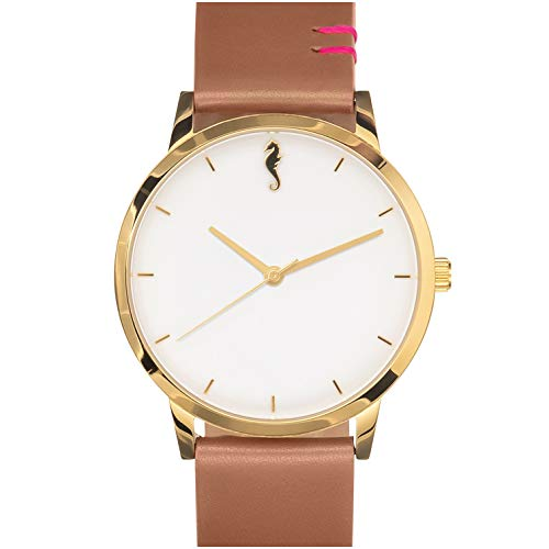 Maro Cevalo Balance Watch for Men and Women | 40mm Minimalist Wrist Watch with Analog Miyota Movement and Genuine Italian Leather 20mm Strap | 50 Meter Water Resistance - Golden Sunrise