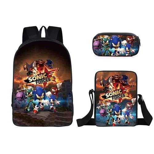 Sonic Animation - Mochila escolar, de una sola capa, poliéster, bolsa pequeña, paquete de tres piezas, A12, 42×29×12.5cm,