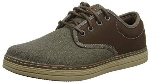 Skechers Heston-Santano, Zapatos de Cordones Brogue Hombre, Multicolor (TPE Black Canvas W/Synthetic), 45 EU