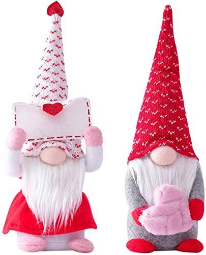 2PCS Valentine Gnomes Paar Dekorationen - St. Patrick's Ostertag Handmade Elf Plüschpuppe - Nette Mini Kobold Skandinavische Folklore Home Haushalt Ornamente Tomte Als Geschenk (Size : Small)