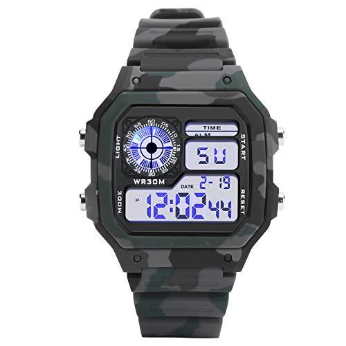 FOLOSAFENAR Reloj electrónico Digital para Hombre Reloj de Pulsera Multifuncional Reloj Digital Impermeable Luminoso, para Deportes al Aire Libre(Camouflage Gray)