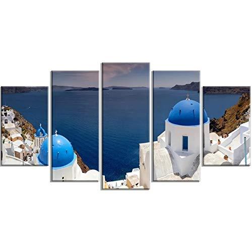 5 piezas decoración del hogar lienzo cielo regalos cartel impreso lago azul Castillo pintura arte de pared imágenes HD marco modular para sala de estar 80x150cm