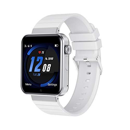 Smartwatch, Reloj Inteligente Android con Ranura para Tarjeta SIM, Pulsera de Actividad Inteligente para Hombres y Mujeres,Reloj Deportivo con Podómetro,para Android iOS Xiaomi Samsung Huawei (Blanco)