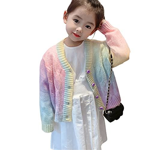 Gloomia Toddler Girl Autumn/Winter Sweater Rainbow Long-Sleeved Knitted Cardigan/Pullover Sweater (Cardigan colorato, 6-7Y)