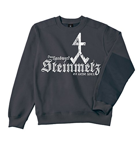 Steinmetz Sweatshirt - Workwear | Bau | Arbeit | Männer | Herren | Pullover | Arbeitskleidung | Handwerker | Zunftwappen (L, Darkgray / Grau)