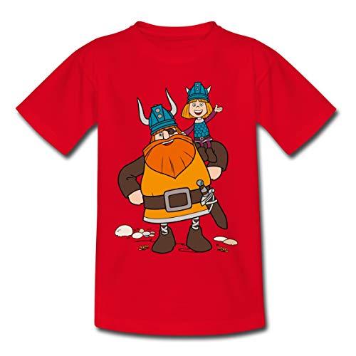 Wickie Und Die Starken Männer Halvar Trägt Wickie Kinder T-Shirt, 98-104, Rot