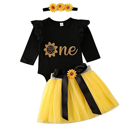 Geagodelia - Set di abbigliamento per bambini e bambine, 1° compleanno, con tutina + gonna in tulle e gonna in tulle Nero & giallo 605 – maniche lunghe Taglia Unica