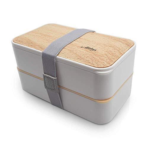 Atthys® - Lunch Box Blanc   Bento Japonais Design 3 Couverts Offerts   Bento Box 2 Compartiments Hermétiques 1200 ML   Micro-Ondes Lave-Vaisselle   Boîte Déjeuner Bois Adulte ou Enfant