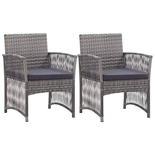 Tidyard 2er Set Garten-Essstühle Gartenstühle Relaxsessel Gartensessel Poly-Rattan-Stuhlset 55,5 x 58 x 76 cm Mit Sitzkissen,2 Stühle Garten-Liegestuhl,Pulverbeschichteter Stahlrahmen
