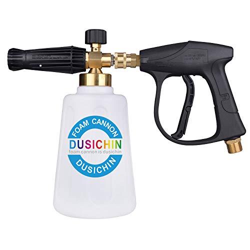 DUSICHIN DUS-009 Snow Foam Cannon Foam Lance Pressure Washer Soap Dispenser Spray Gun Jet Wash Quick Release Adjustable Nozzle Larger Container Higher Flow Rate 55 Oz