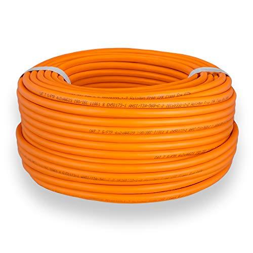 HB-DIGITAL 25m cat 7 Netzwerkkabel LAN Verlegekabel Cable - Übertragungsgeschwindigkeit bis zu 10 Gbit/s - Kupfer Profi S/FTP PIMF LSZH Halogenfrei Orange RoHS-Compliant cat. 7 Cat7 AWG 23/1