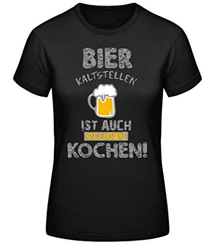 shirtinator Bier Kaltstellen ist wie Kochen | Geschenk Bier Spruch für Frauen | Lustiges T-Shirt Original (Schwarz, XL)