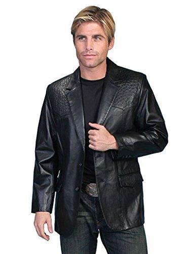 Scully Men's Ostrich Trim Leather Blazer Regular/Big and Tall Black 52 R