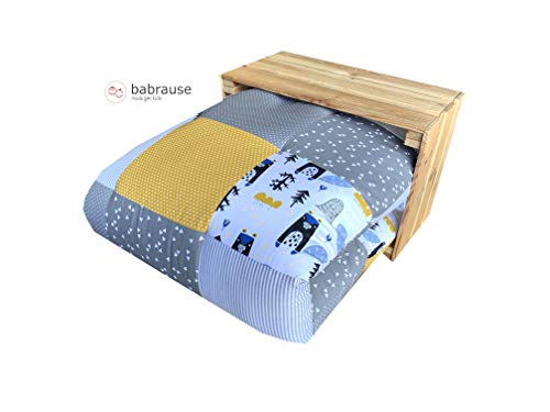 babrause DIY Krabbeldecke Nähpaket Verschiedene Designs (Biber Gelb Grau)