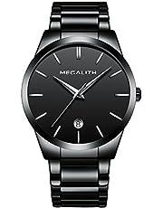 [メガリス]MEGALITH 腕時計 メンズ時計ステンレス アナログクオーツ防水腕時計 日付表示 おしゃれウオッチ ビジネス カジュアル ラ