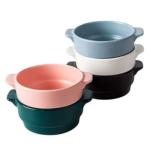 AWYGHJ Französische Zwiebel-Suppentassen aus Porzellan, 12-Unzen-Crocks-Schalen mit klassischem und elegantem Design, Mikrowellen- und Ofensafe, für Suppe, Eintopf, Chill, 5er-Set
