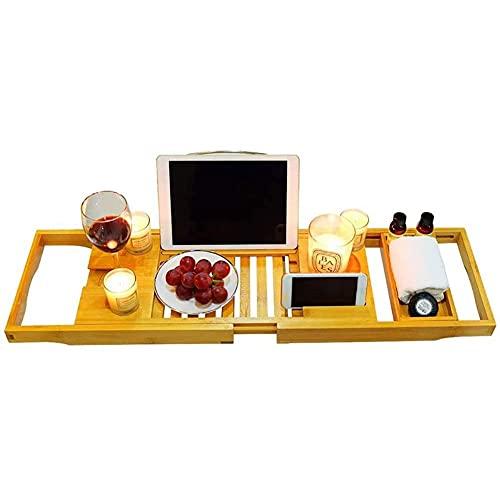 HUIXINLIANG Bandeja de baño para bañera de baño de bambú Bandeja Caddy con lados que se extiende, bandeja de bañera expandible con soporte de vidrio, ranura para teléfono, para spa relajado y de ducha