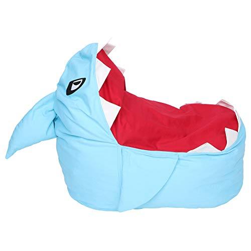 Bolsa de frijoles grande Silla rellena Apariencia de tiburón Juguetes Organizador de almacenamiento de juguetes blandos Peluches Organizador de puff gigante(Azul)