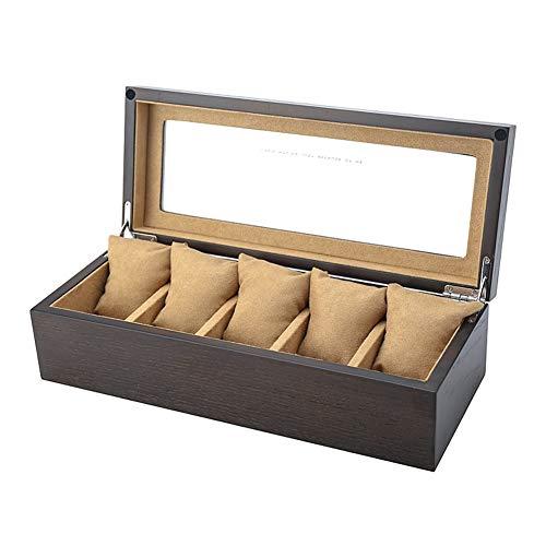 ZHAYEUK ZHAYEUK Holz Uhrenbox Uhrenkoffer 5 Uhren Einzel for Herren Damen, Groß Uhrenkasten männer Kasten Uhren Uhrenaufbewahrung for den Ehemann Uhrenschachtel (Schwarz, 30 x 12 x 8 cm)