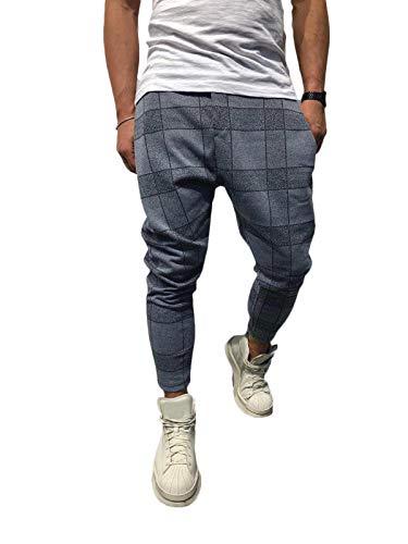 ORANDESIGNE Homme Pantalon Chino Sarouel de Jogging à Carreaux Pants Longue Sport Slim Fit Grande Taille Gris S