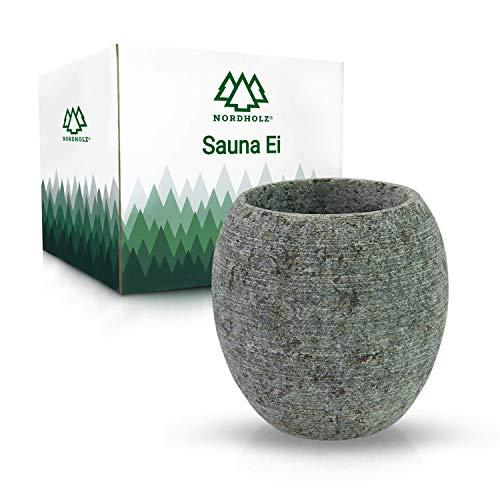 NORDHOLZ® Sauna Ei aus hochwertigem Speckstein - Für einen langanhaltenden und intensiven Duft - Saunaei perfekt für Aufguss oder Mentholkristalle - Hochwertiges Sauna Zubehör - Saunazubehör