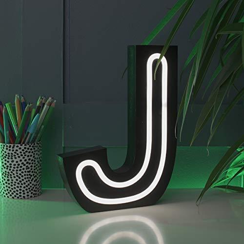 Festive Lights - Lettere Luminose Effetto Neon, Funzionamento a Batteria, 16 cm, da Appendere alla Parete (J), J