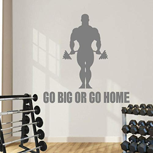 Citar Go Big Or Home Tatuajes de pared Deporte Culturista Mural Gimnasio Vinilo Sticker Extraíble Interior Art Decor Living Room Decal 96x99cm