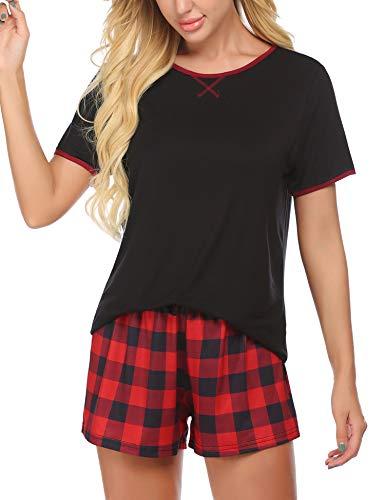 Ekouaer Pajamas Women Short Sleeve with Plaid Shorts Cute Sleepwear Teen Girl Cartoon Sleep Tee Summer Lounge Pj Set Gift