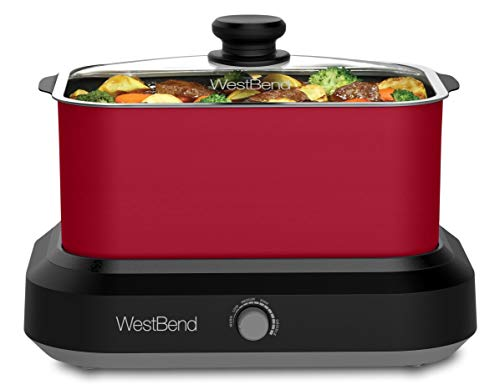 West Bend 87906R Versatility Slow Cooker 5 Different Temperature Control Settings Dishwasher Safe Includes Travel Lid & Thermal Carrying Case, 6-Quart, Red