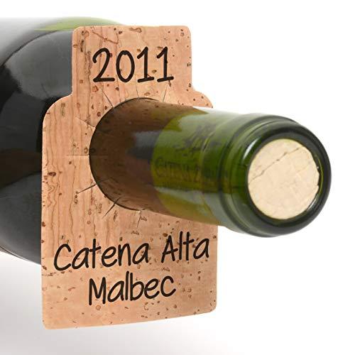 Bar Amigos 24 stuks kurk wijnflessen etiketten - nek etiketten blanco champagne flessenhanger om elke fles te beschrijven tijdens het bewaren in een kelderrek