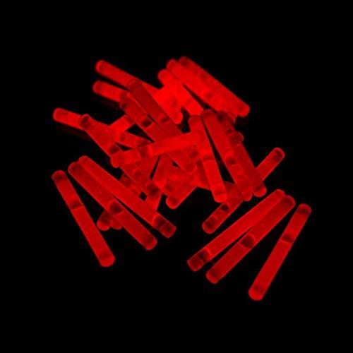 Eva Shop® 50 Premium Micro Mini Knicklichter 40 x 4,5 mm Leuchtstäbe Angelsport Bissanzeiger Glowstick Partylichter LED Luftballon Party Tischdekroration Neon wählen Sie Ihre Farbe (50er Pack Rot)