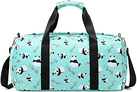 Dance Duffle Bag Girls Teens Kids Sports Gym Bag with Shoe and Wet Clothes Compartments, Panda Overnight Weekender Travel Swimming Sleepover Bag