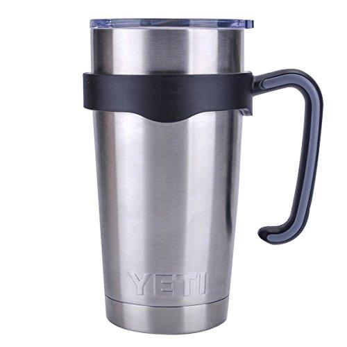 Tumbler Handle for 20 oz Yeti Rambler Cooler Cup, Rtic Mug, Sic, Ozark Trail Grip and more (20 Oz, Black)