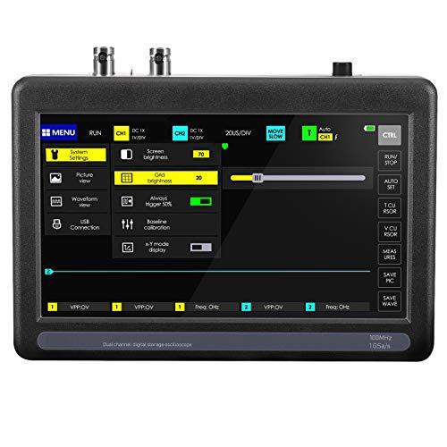 GJCrafts Osciloscopio para Tableta de 7 Pulgadas con 2 Canales, Ancho de Banda de 100 MHz y frecuencia de muestreo de 1 GS, Kit de osciloscopio USB Digital con Pantalla táctil portátil